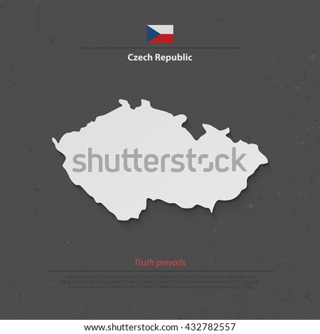 Czech Republic isolated map and official flag icons. vector Czech political map 3d illustration. Central Europe geographic banner template. travel business concept vector maps. Czech Republic map icon - stock vector