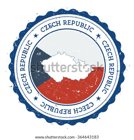 Czech Republic map and flag in vintage rubber stamp of country colours. Grungy travel stamp with map and flag of Czech Republic, vector illustration - stock vector
