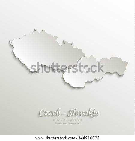 Czech Slovakia map card paper 3D natural vector Czechoslovakia separate maps - stock vector