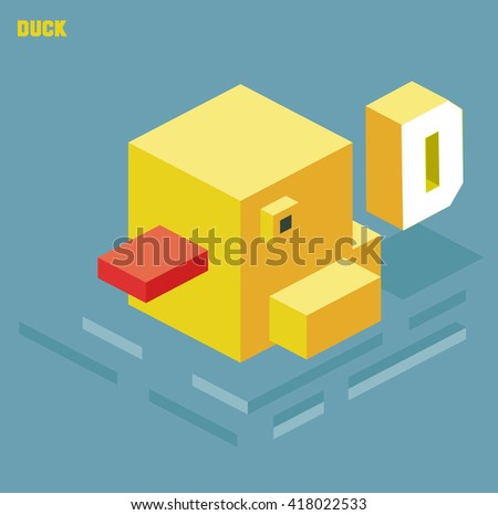 D for duck. Animal Alphabet collection. vector illustration - stock vector