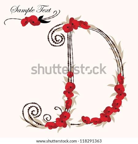D, hand drawn flower alphabet - stock vector