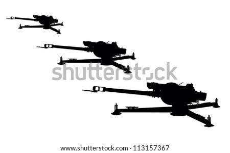 D-30 howitzer vector silhouette - stock vector