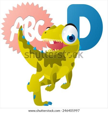 D is for Dinosaur vector cartoon animal  - stock vector