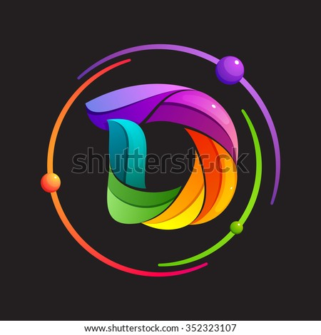 D letter logo with atomic or space orbits. Abstract trendy multicolored vector design template elements for your application or corporate identity. - stock vector