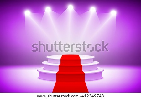 d3 Purple Illuminated stage podium with red carpet for award ceremony vector illustration stage light background art - stock vector