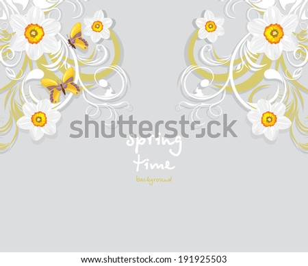 Daffodils and butterflies. Springtime background. Vector - stock vector