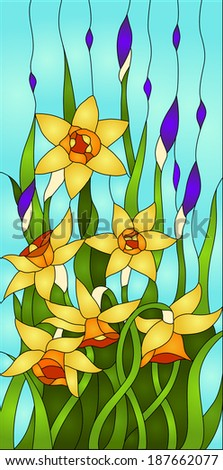 daffodils and iris bud, spring flower love, Symbol of Wales/ Stained glass window - stock vector