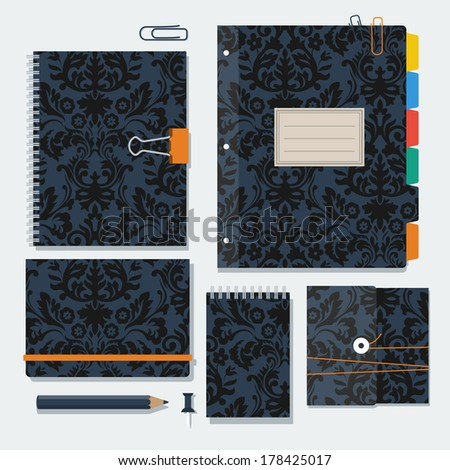 Daily kit notebooks with damask floral pattern on the covers. Vector templates.   - stock vector