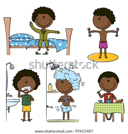 Daily Morning African-American Boys Life including wake up, morning exercises, teeth cleaning, shower and breakfast - stock vector