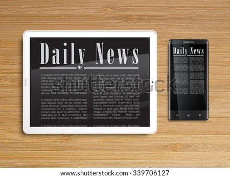 Daily News on tablet and phone, vector - stock vector