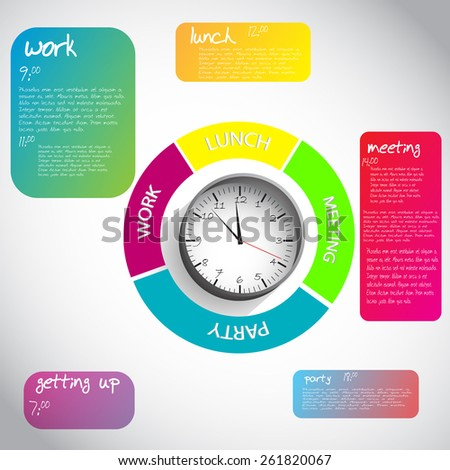 daily schedule with clock and all daily activity - stock vector
