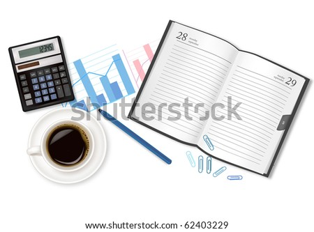 Dairy-book, cup of coffee and office supplies. Vector. - stock vector
