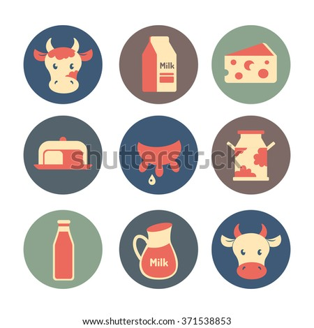 Dairy farm and milk products flat icons set - stock vector