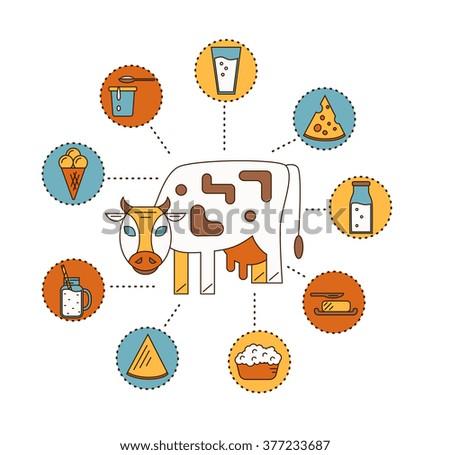 Dairy product icon, dairy set. Dairy product icon vector. Dairy product icon isolated. Dairy product icon on white background. Milk product icon set. Dairy vector. Dairy product icon on flat design. - stock vector