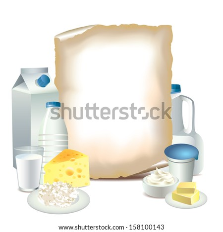 Dairy products and sheet of paper vector illustration - stock vector