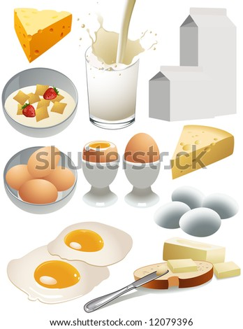 Dairy products, vector illustration, EPS file included - stock vector