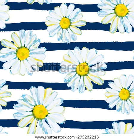 Daisies on the striped nautical background. Watercolor seamless pattern with wild summer flowers. - stock vector