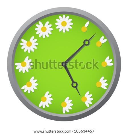 Daisy clock - stock vector