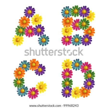 Daisy flowers Alphabet letters A-D - vector eps 8 - stock vector