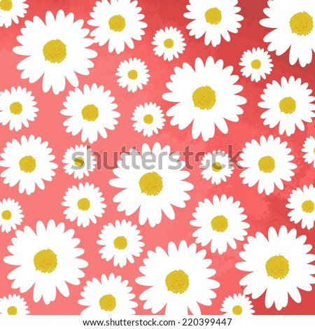 daisy flowers on pink background - stock vector
