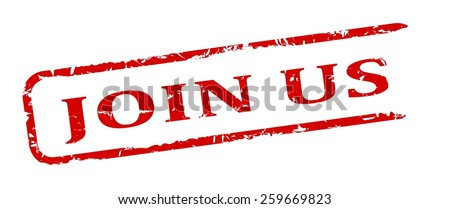 Damage to red oval stamp with the words - join us - vector - stock vector