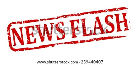 Damage to red oval stamp with the words - news flash - vector - stock vector