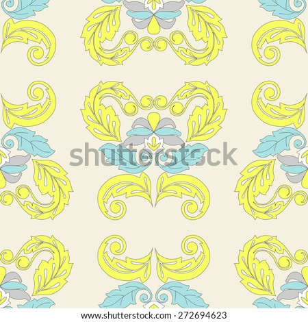 Damask beautiful background old styled seamless pattern. Vector illustration. Royal  floral wallpaper, swatch fabric. - stock vector