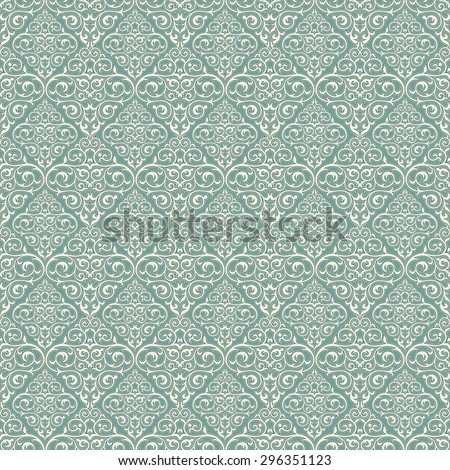 Damask beautiful background with rich, old style, luxury ornamentation, blue fashioned seamless pattern, royal vector wallpaper, floral wrapping paper, swatch fabric for decoration and design - stock vector