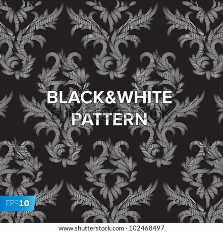 Damask black and white floral background pattern, vector Eps 10 illustration. - stock vector
