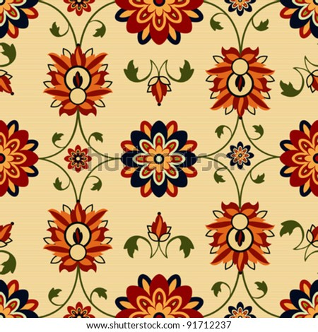 Damask design, a seamless floral pattern background - stock vector