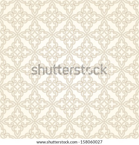 Damask elegant light wallpaper.Seamless vector background. White,beige  texture. - stock vector