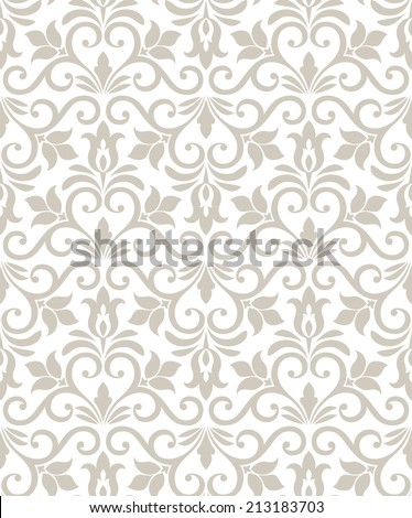 Damask elegant light wallpaper.Seamless vector background. White, beige texture. - stock vector