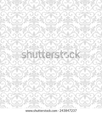 Damask elegant light wallpaper. Seamless vector background. White, gray floral ornament. - stock vector