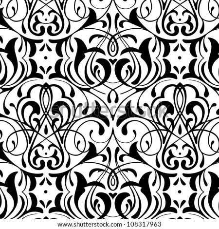 damask seamless black and white background - stock vector