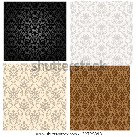 Damask seamless color pattern set. For easy making seamless pattern just drag all group into swatches bar, and use it for filling any contours. Fully editable EPS 8 vector illustration. - stock vector