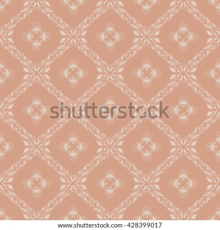 Damask seamless floral pattern. Royal wallpaper. Floral ornaments on a beige background. Vector illustration - stock vector