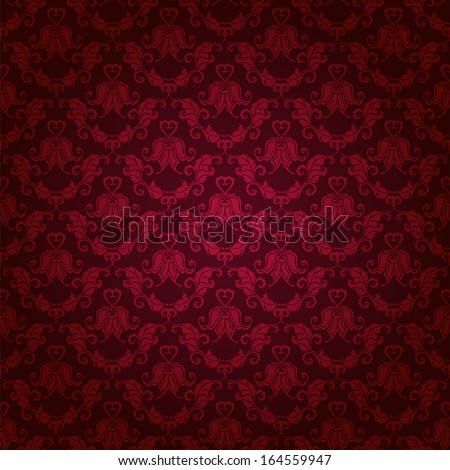 Damask seamless floral pattern. Royal wallpaper. Floral ornaments on a red background. Vector illustration EPS10. - stock vector