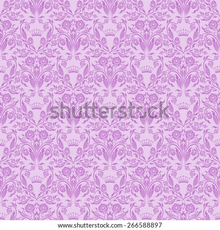 Damask seamless floral pattern. Royal wallpaper. Floral ornaments on lilac background. Vector illustration. - stock vector