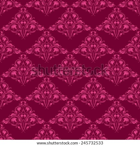 Damask seamless floral pattern. Royal wallpaper. Floral ornaments on red background. Vector illustration - stock vector