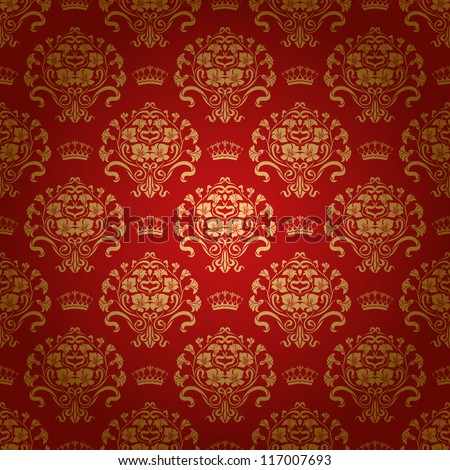 Damask seamless floral pattern. Royal wallpaper. Flowers and crowns on a red background. EPS 10 - stock vector