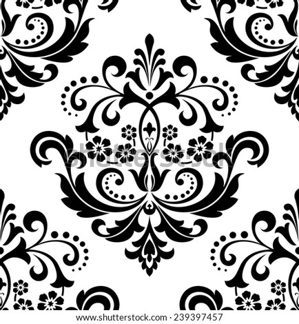Damask seamless floral pattern. Royal wallpaper. Flowers on a black and white background. Vector ornament. - stock vector