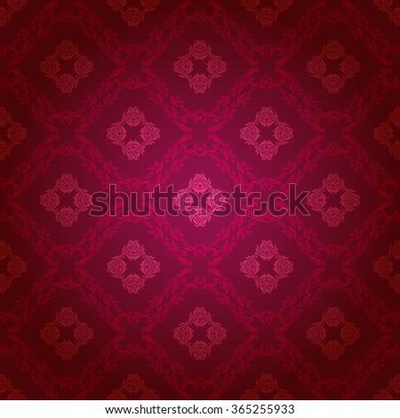 Damask seamless floral pattern. Royal wallpaper. Flowers on a dark background. Vector illustration EPS 10. - stock vector