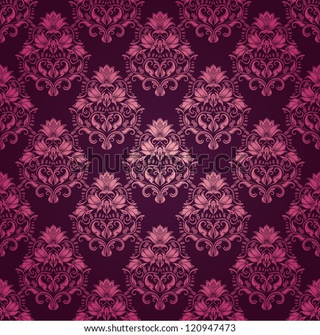 Damask seamless floral pattern. Royal wallpaper. Flowers on a purple background. EPS 10 - stock vector