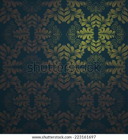 Damask seamless floral pattern. Vintage  illustration - stock vector