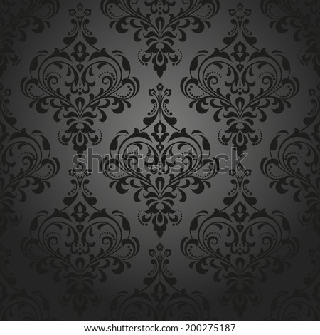 Damask seamless floral, vector pattern. Royal wallpaper. Flowers on a black background. - stock vector