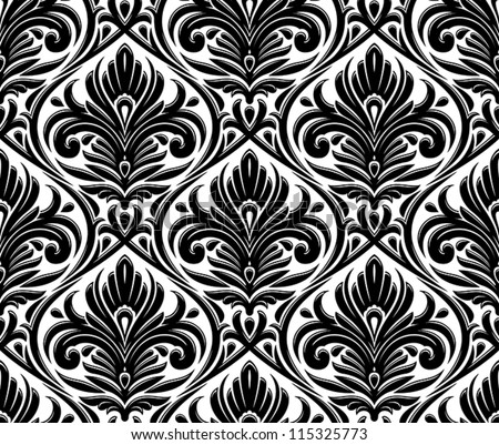 damask seamless pattern - stock vector