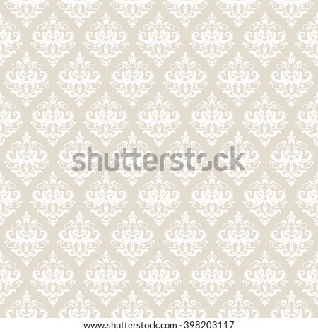 Damask seamless pattern background in neutral beige. For wedding or scrapbook design. - stock vector