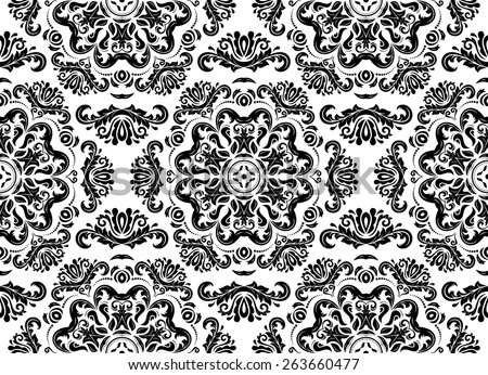 Damask seamless pattern. Fine vector traditional ornament with oriental elements. Black and white colors - stock vector