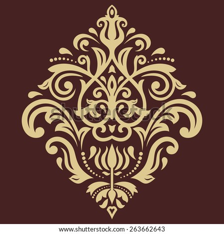 Damask seamless pattern. Fine vector traditional ornament with oriental golden elements - stock vector