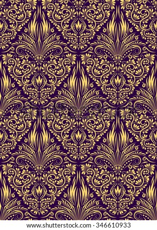 Damask seamless pattern repeating background. Golden purple floral ornament in baroque style. - stock vector
